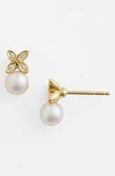 Mikimoto Akoya Pearl And Diamond Earrings Akoya Pearl Yellow Gold