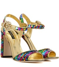 Dolce And Gabbana Sequinned Sandals Multicoloured