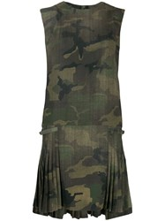 Ermanno Scervino Camouflage Pleated Dress Green