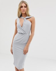 Lavish Alice Cut Out Drape Midi Dress In Grey