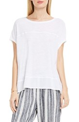 Vince Camuto Women's Two By Chiffon High Low Hem Knit Tee Ultra White