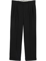 Burberry Wide Leg Wool Mohair Tailored Trousers Black