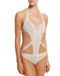 Herve Leger Printed Bandage Cutout One Piece Swimsuit Alabaster Combo