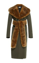 Isa Arfen Faux Fur Trenchcoat With Fur Belt Green