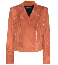 Balmain Suede Jacket Brown