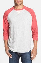 Men's True Grit Long Sleeve Raglan Crewneck T Shirt Vintage Red Heather Grey