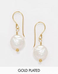 Mirabelle Carita White Coin Pearl Gold Plated Drop Earrings White