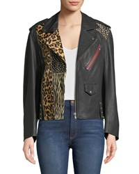 Zadig And Voltaire Liya Patch Leather Moto Jacket Noir