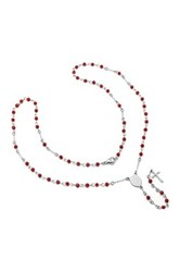 Simulated Red Garnet Bead Rosary Necklace