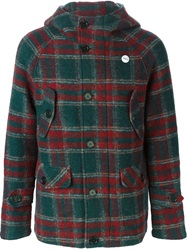 Equipe '70 Short Plaid Hooded Coat Green