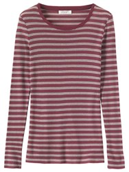Toast Fine Wool Tencel Stripe T Shirt Mulberry Multi