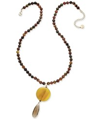Paul And Pitu Naturally 14K Gold Plated Agate Smoky Quartz Necklace Yellow Gold