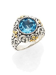 Effy Blue Topaz Sterling Silver And 18K Yellow Gold Ring