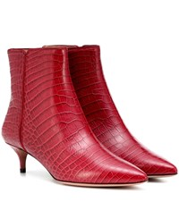 Aquazzura Quant 45 Embossed Leather Ankle Boots Red