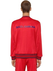 Dolce And Gabbana Casual Bomber Jacket W 3D Logo Red