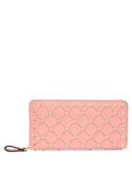 Valentino Rockstud Spike Quilted Leather Continental Wallet Pink