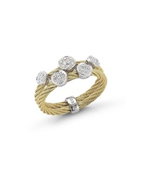Alor Classique 18K Yellow Gold Cable Diamond Ring