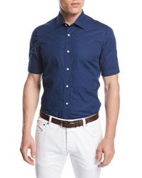 Isaia Stitched Floral Short Sleeve Cotton Shirt Navy