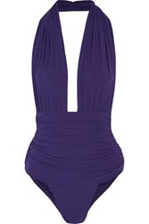 Norma Kamali Mio Ruched Stretch Jersey Halterneck Swimsuit Royal Blue