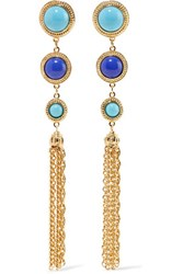 Ben Amun Gold Tone Stone Clip Earrings Blue