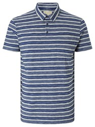 John Lewis And Co. Tea Stained Stripe Polo Shirt Navy White