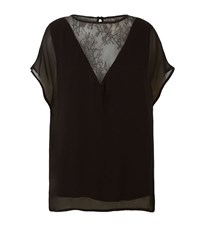 Set Lace Trim T Shirt Female Black