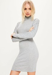 Missguided Grey Ruched Sleeve Bodycon Dress