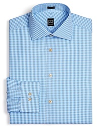 Ike Behar Box Check Dress Shirt Classic Fit Empire Blue