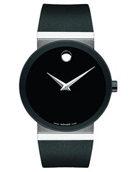 Movado Mens Pvd Finished Stainless Steel Rubber Strap Watch Black