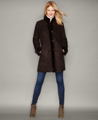 The Fur Vault Shearling Lamb Stand Collar Coat