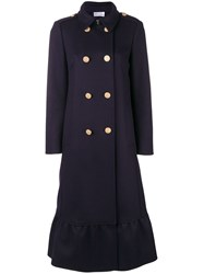 Red Valentino Double Breasted Flared Coat Blue
