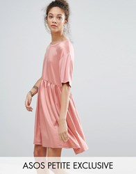 Asos Petite Satin Smock Dress With Contrast Elastic Detail Dusty Pink Multi