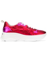 Kennel Schmenger And Metallic Lace Up Sneakers Red