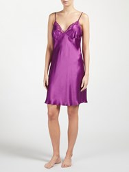 John Lewis Silk Lace Trim Chemise Purple