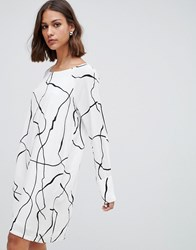 Minimum Graphic Print Shift Dress Broken White