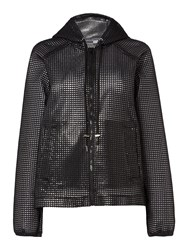 Sportmax Code Mesh Jacket With Front Pockets And Hood Black