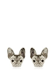 Mg Trends Silver And Crystal French Bulldog Earrings