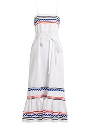 Lisa Marie Fernandez Ric Rac Trimmed Linen Slip Dress White Multi
