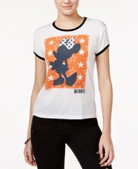 Mighty Fine Juniors' Disney Minnie Mouse Graphic T Shirt White Black