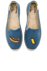 Soludos Embroidered Smoking Slipper Blue