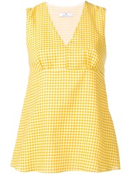Paul Smith Ps Gingham V Neck Top Yellow