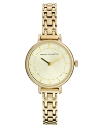 French Connection Double Circle Dial Skinny Gold Watch