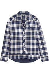 Skin Plaid Pima Cotton Pajama Shirt Navy