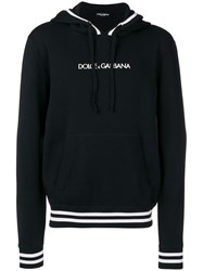 Dolce And Gabbana Logo Embroidered Hoodie Black
