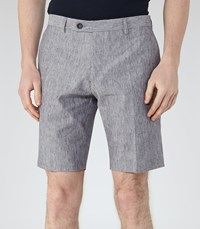 Reiss Galoway Mens Linen And Cotton Shorts In Blue