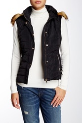 Coalition La Eskimo Kisses Faux Fur Trim And Lining Hooded Vest Black
