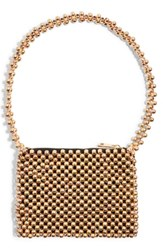 Topshop Metallic Beaded Shoulder Bag Metallic Gold