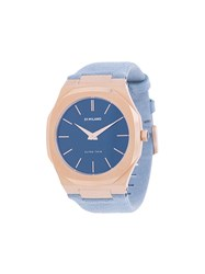 D1 Milano Ultra Thin Watch Suede Steel Blue