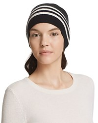 Theory Hody Striped Cashmere Beanie Black Ivory