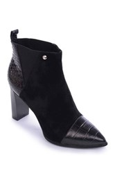 Nicole Miller Loretta Genuine Leather Croc Embossed Bootie Black